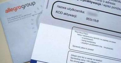 письмо с кодом с аукциона allegro.pl
