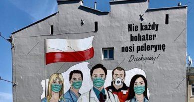 Мурал в Польше в поддержку работников медицины